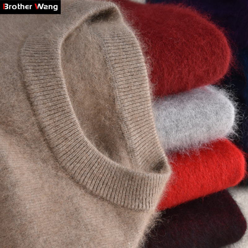 Brother Wang Brand 2019 Winter New Men's Fashion Cashmere Sweater Casual O-Neck Warm Thick Pullover Sweater Male