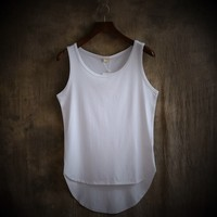Sleeveless Vest For Summer Clothes Sexy Round Collar Vest Casual And Comfortable Hem Round Clothes Suitable