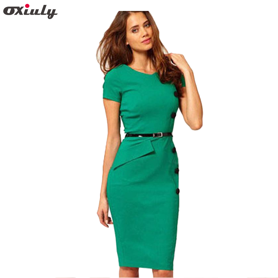 Oxiuly Plus Size Classic Blue Elegant Womens Short Sleeve Empire Button Casual Bodycon Stretchy Knee Length