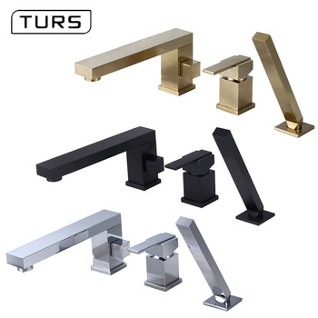 цены Bathroom Shower Faucet Bath Shower Set Waterfall Bathtub Sink Faucet Water Mixer Sink Taps Brass Chrome & Black & Brushed Gold