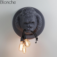 Nordic Resin Gorilla Wall Lamps Led Modern Wall Sconce Light Fixtures for Home Loft Industrial Decor Bedroom Bedside Lamp E27