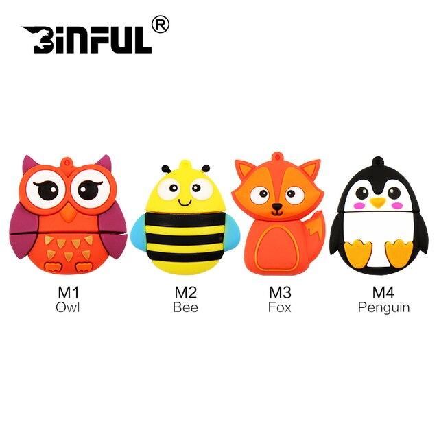 Cute Animals usb flash drive Owl Penguin Fox Bee 32gb pendrive 16gb usb stick 4gb 8gb flashdrive usb stick u disk pen drive