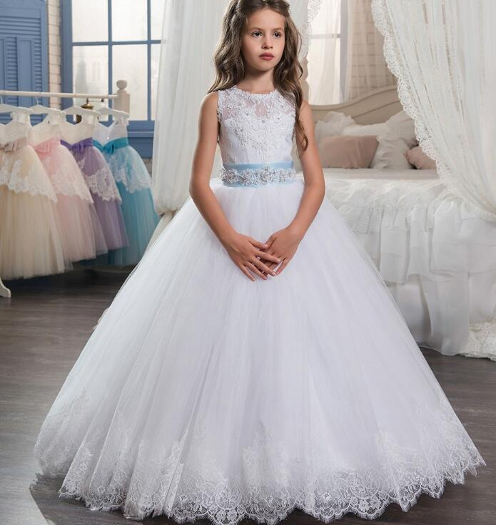 Spring Pretty Ball Gown   Flower     Girl     Dresses   2018 Appliques Long Pageant   Dresses   For Kids Baby   Dress   Kids Evening Gowns M2575