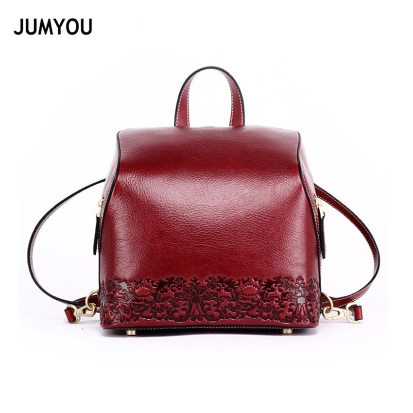 Genuine Leather Backpacks Women Travel Backpack For Girl Small printing Chinese style Casual Fashion Real Leather Backpack Bags designer luxury women bags fashion genuine leather travel backpacks for women casual original backpack streetwear backpacks