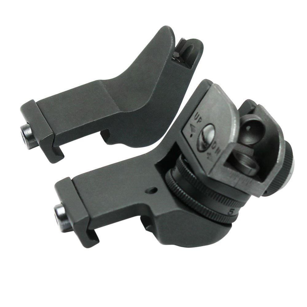 45 Degree Adjustable Tactical Hunting Flip Up Front Rear Rapid Transition Backup Iron Sight Set