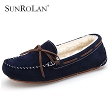 SUNROLAN Winter Fur Lined Women Suede Loafers Slip-on Ladies Moccasins Soft Warm Plush Flat Driving Loafers Boat Shoes Woman 821
