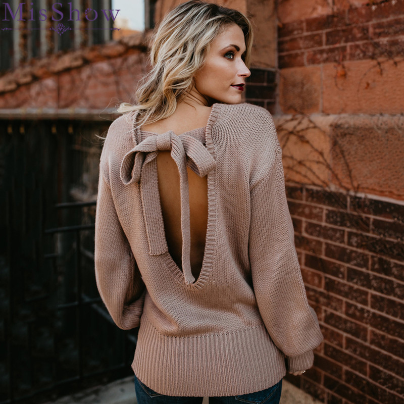 MisShow Sexy Bow Tie Back Pink Lantern Sleeve Sweater Solid Knitted Autumn Winter Pullovers Jumper Women Pull Femme