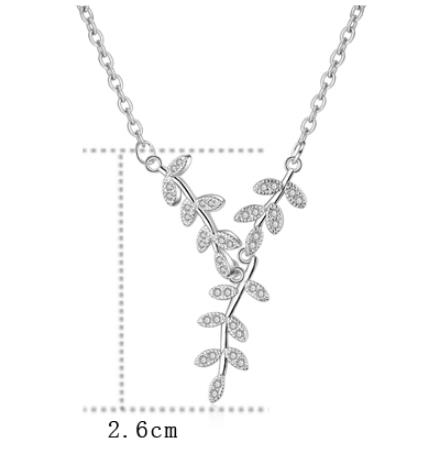 Everoyal Top Quality 925 Sterling Silver Necklace Girls Choker Jewelry Luxury Zircon Leaf Pendant Necklace For Women Accessories in Pendant Necklaces from Jewelry Accessories