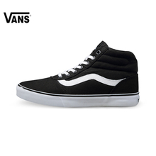 Original Vans Women's New Arrival Black Color High-Top Skateboarding Shoes Canvas Sneakers free shipping