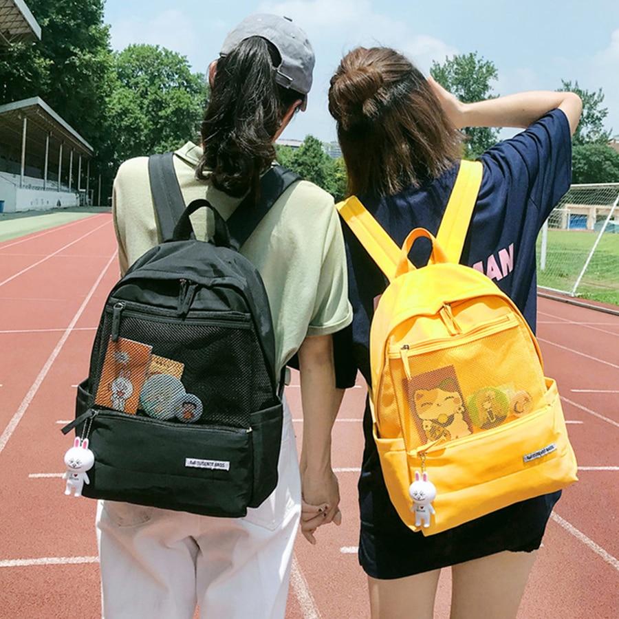 Casual Mesh Design Women School Travel Backpacks Harajuku Large Capacity Women Schoolbags For Teenage Girls Oxford Boobags Woman