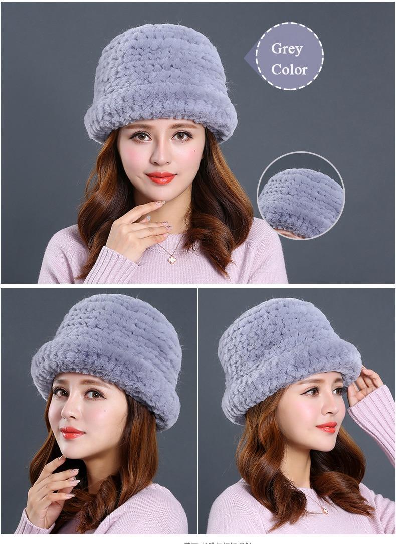 Luxury Natural Fur hats Fur Bucket Hat Russian Real Rex Rabbit Fur Hat Female Solid Women\`s Winter Cap Ladies (23)