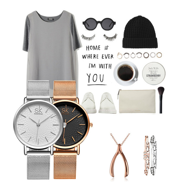 Women's Super Slim Silver Mesh Wrist Watch 6