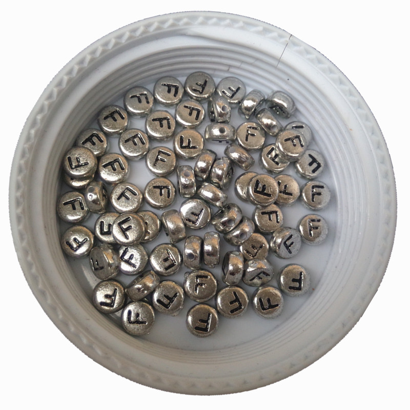 Wholesale Single Initial F Silver Letter Beads 3600PCs/Lot 4*7MM Flat Coin Round Shape DIY Jewelry Spacer Beads Alphabet Bead
