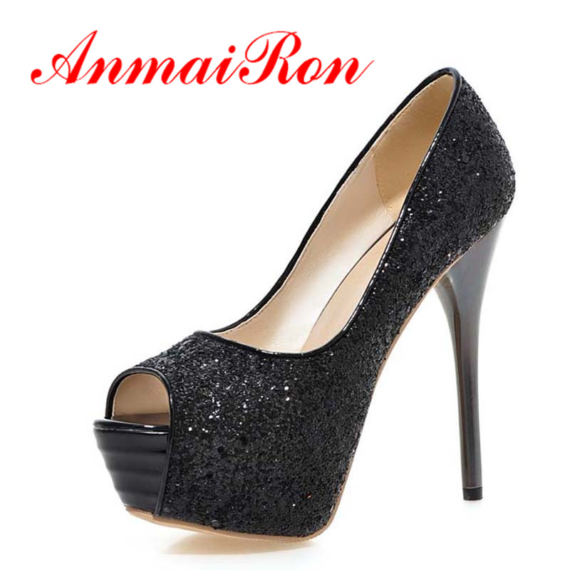 2018 New Brand Women Pumps Sexy Platform Pumps Glitter 13.5cm High Heels Red Bottom Pumps Shoes Plus Size 34-43Shoes Women Party taoffen women high heels shoes women thin heeled pumps round toe shoes women platform weeding party sexy footwear size 34 39