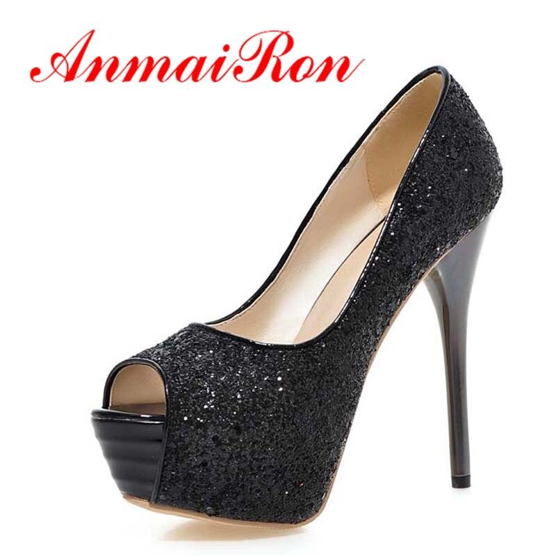 2018 New Brand Women Pumps Sexy Platform Pumps Glitter 13.5cm High Heels Red Bottom Pumps Shoes Plus Size 34-43Shoes Women Party