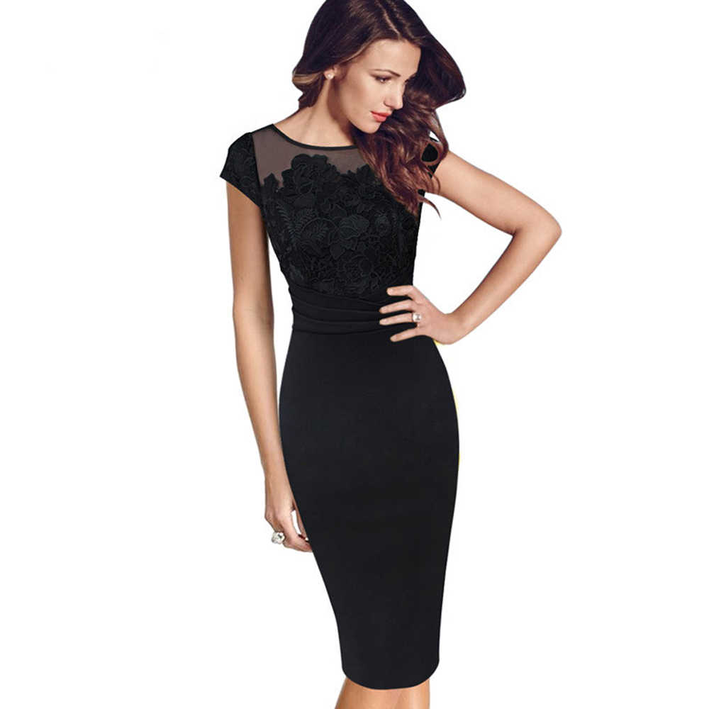 2018 Summer Tunic Casual Club Bridesmaid Mother of Bride High Waist Sexy  Black Lace Dresses Party 145a31552ead