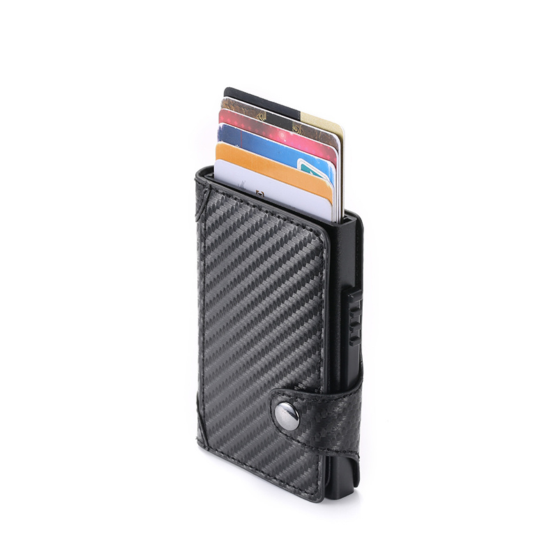 BISI GORO Slim Card Holder Carbon Fiber PU Leather Card Wallet RFID Blocking Men And Women Card Holder For Travel Drop-shipping