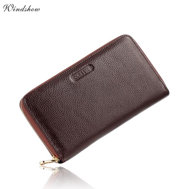 Large Mens Wallets Leather Genuine Real Cowhide Long Zipper Wallet Purses Pencil Case Card Checkbook Holder carteira masculina