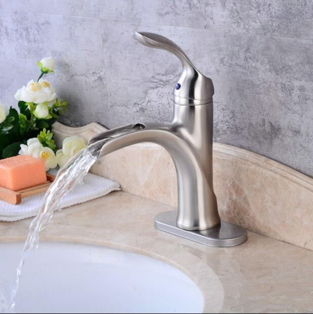 pfashion brass nickel brushed finish bathroom hot and cold basin faucet sink faucet single lever waterfall basin tao