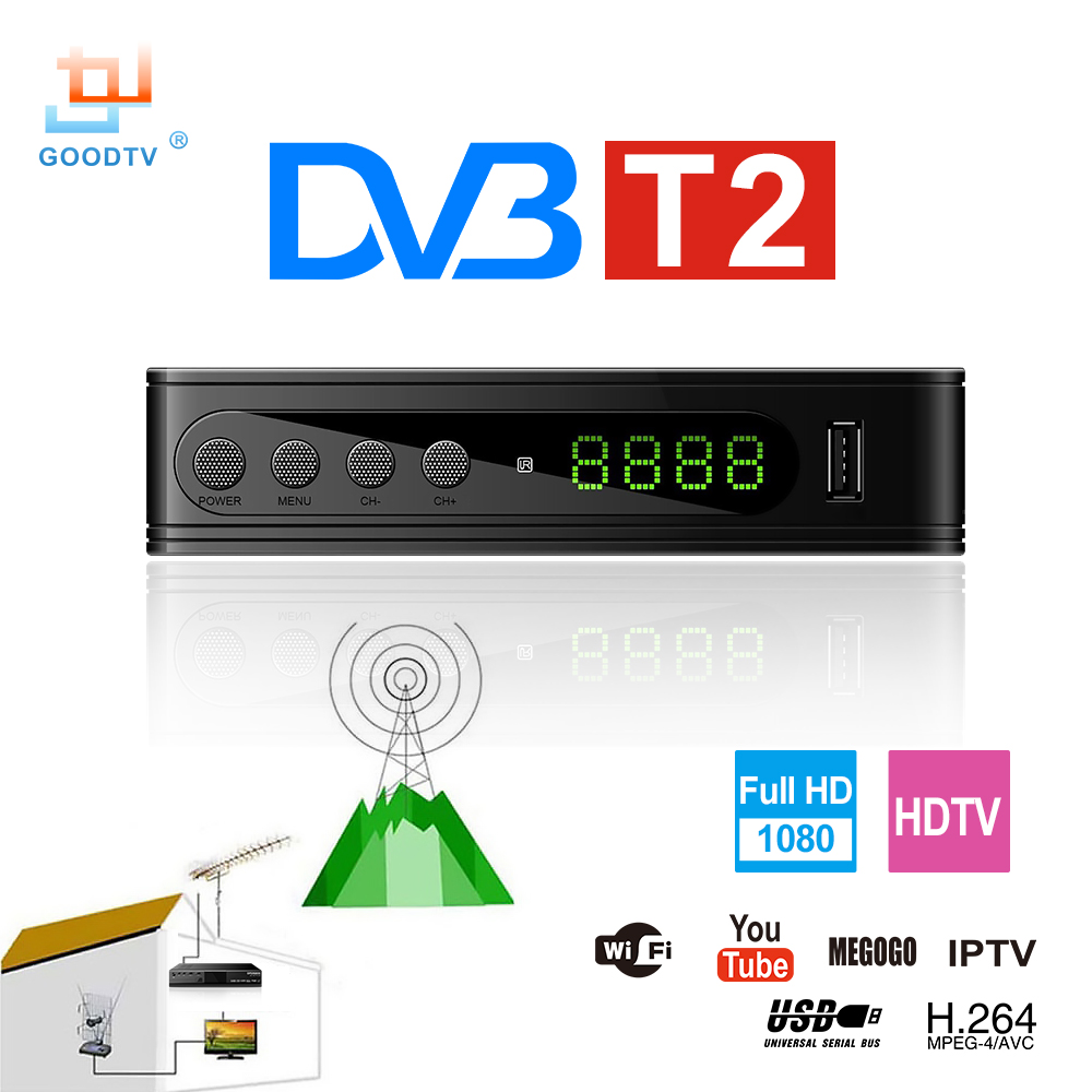 U2C DVB-T Smart TV-Box HDMI DVB-T2 T2 STB H.264 HD TV Digital Terrestrisk Mottagare DVB T / T2 Set-top Boxer Gratis Tv Ryssland
