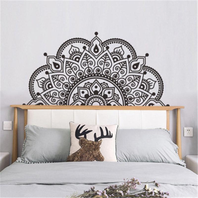 Mandala in Half Wall Sticker Meditation Yoga Art Living Room  Boho Flower Decal Headboard Bedroom Decoration