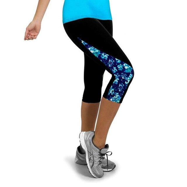 55749e90 US $3.94 26% OFF|2016 Elastyczne Fitness Rajstopy Kobiety Trzy Czwarte  Długości Spodnie Gym Sport Joga Legginsy Spodnie Do Biegania Kompresji ...