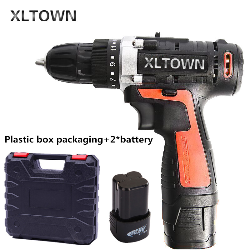 XLTOWN 16.8V cordless electric drill with 2 battery a plastic box lithium battery rechargeable electric screwdriver  power tools 4 8vlithium battery 2 torque electric drill bit cordless electric screwdriver hand wrench with plastic case carry tool box set