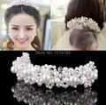 Bridal coroa handmade headdress wedding hair accessories crystal pearl beads crown direct sale tiaras jewelry headband H54