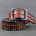 100% couro genuíno das mulheres cinto de rebite pin fivela pulseira de couro genuíno de moda decoração cinto Das Mulheres de todos os jogo denim