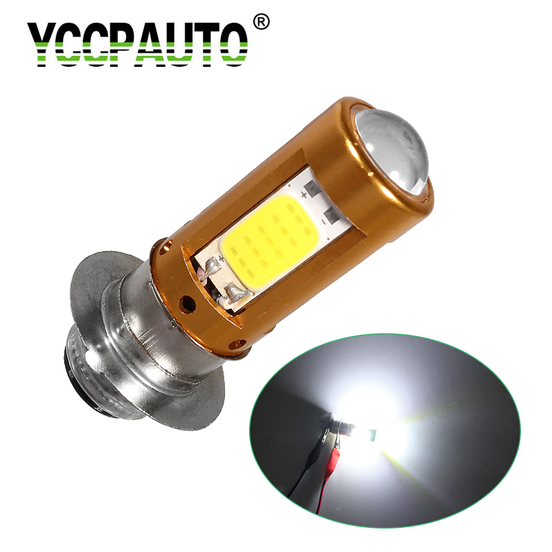 YCCPAUTO 1Pcs H6M PX15D P15D LED Motorcycle Headlight LED Moto Bulb Hi/Lo Beam 2000LM Motorbike Scooter COB HeadLamp White 12-80