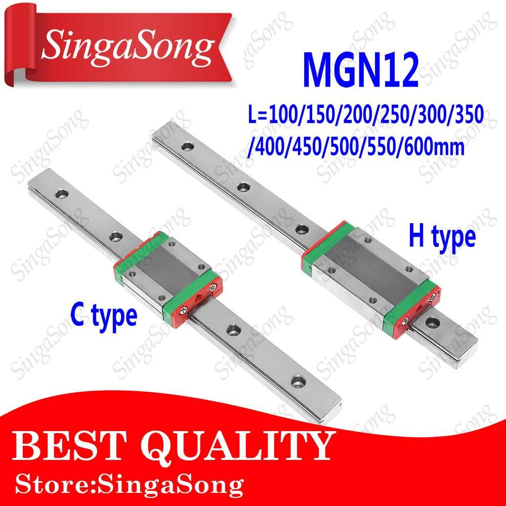 12mm Guida Lineare MGN12 100 150 200 250 300 350 400 450 500 550 600mm lineari della guida + MGN12C o MGN12H trasporto