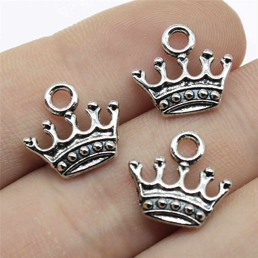 Charms Jewelry Findings Diy Accessories Crown Pendant Antique Silver Plated 50pcs 0.5x0.6 inch (13x14mm)