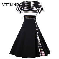 VESTLINDA Vintage Striped Buttoned Pin Up Dress Women Black White Cotton Summer Short Sleeve Dress 2017