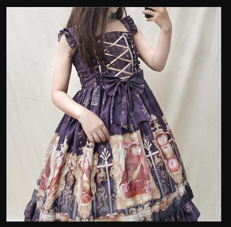 Original vintage impression douce lolita robe palais dentelle bowknot robe victorienne kawaii fille gothique lolita jsk cos lol - 4