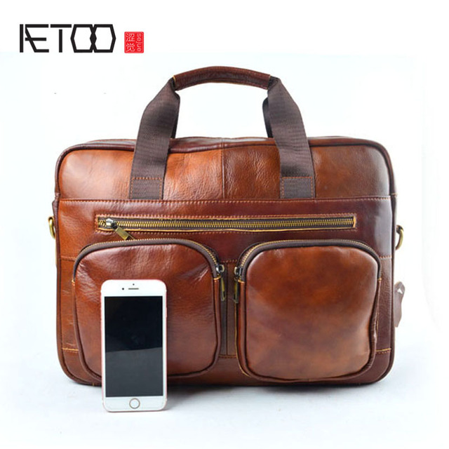 Aetoo Real Leather Genuine Laptop Bag Handbags Cowhide Men Crossbody S Travel Brown