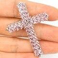 Classic Long Big Cross Pink Kunzite Created SheCrown Wedding   Silver Pendant Gift 53x40mm