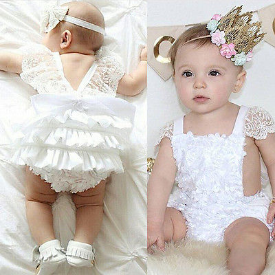 Baby Girls Lace Floral Cake   Romper   Jumpsuit Backless Sunsuit Outfits
