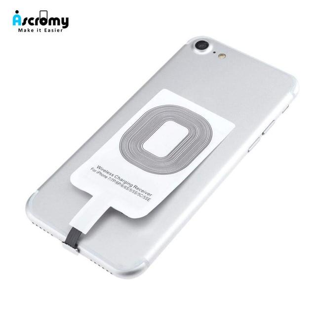 Ascromy Qi Беспроводное зарядное устройство смарт-адаптер для зарядки приемник для iPhone 7 6 6 S Plus 5 5S SE 5SE 5C Индуктивные аксессуары