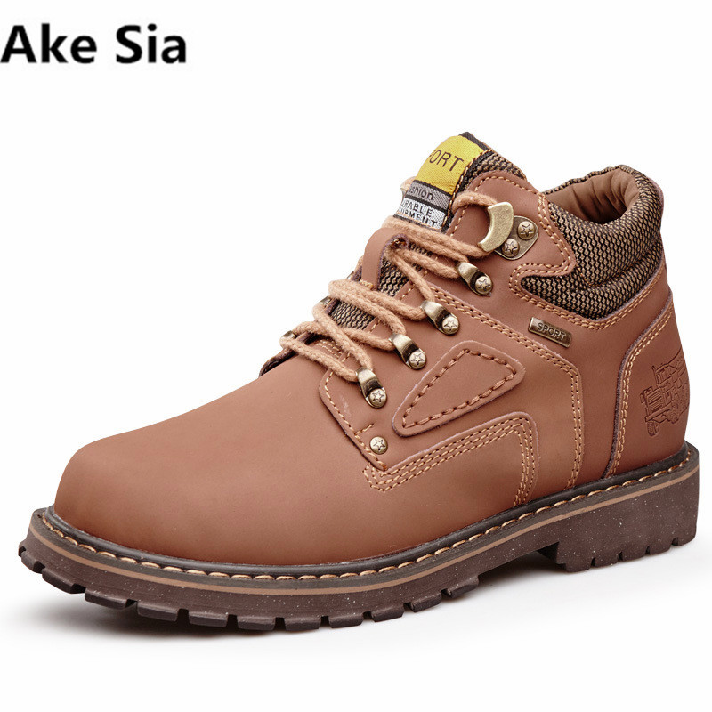 Ake Sia Brand Super Warm Men's Winter Leather Men Waterproof Rubber Snow Boots Leisure Boots England Retro Shoes Size 39-47 каталог sia
