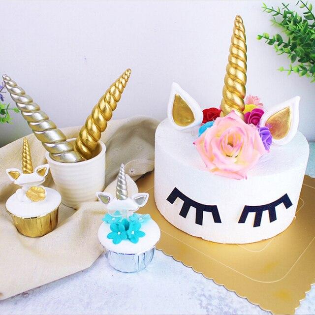 1 Set Unicorn Cake Toppers Unicornio Horn Ears Eyelash Cake Cupcake