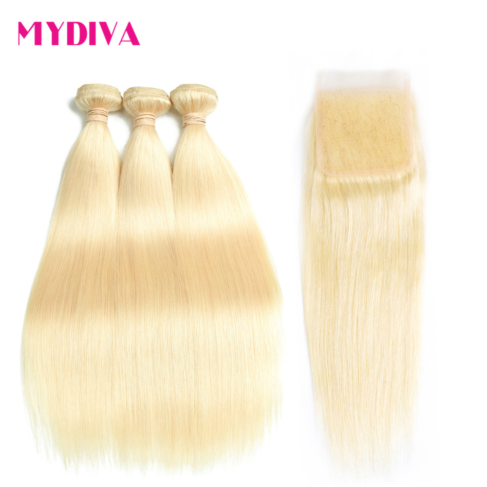 Blonde Bundles Closure Human-Hair Extenstions Straight Brazilian Weave 613 With Remy