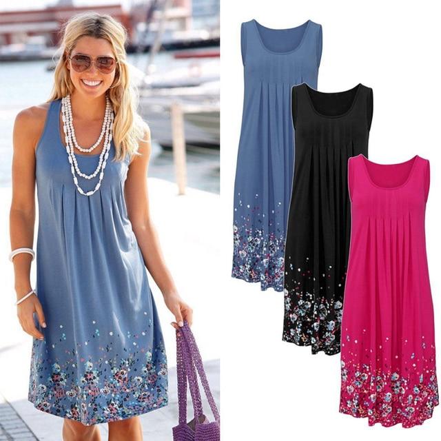 Boho короткие Для женщин летние платья и сарафаны Мода 2017 г. сексуальный плюс Размеры 5xl высокое качество Цветочный Принт без рукавов Пляжные наряды