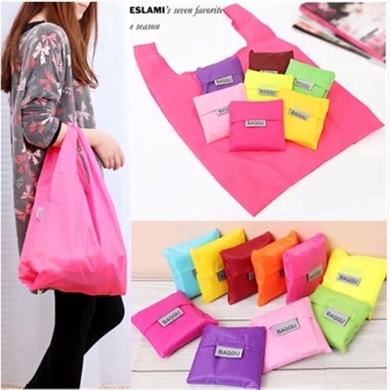 Eco Friendly Reusable portable Nylon foldable shopping bag mixed candy color washable large Storage debris handle Random Color ...