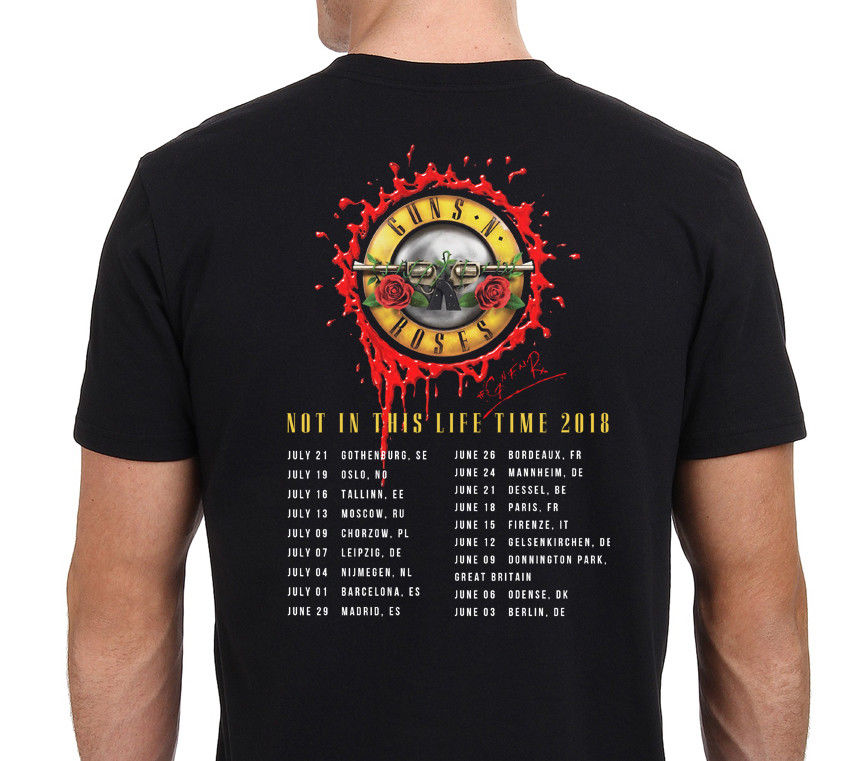 New Guns N Roses Not In This Life Time Tour 2018 T Shirt Mens