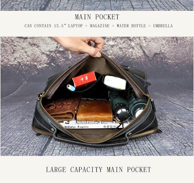 """HTB1BUyidsnI8KJjSsziq6z8QpXaI Le'aokuu Men Real Leather Antique Style Coffee Briefcase Business 13"""" Laptop Cases Attache Messenger Bags Portfolio B207-d"""