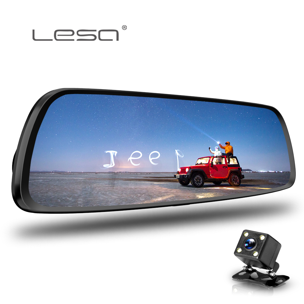 LESA Auto Dvr Kamera Auto 7,0 zoll Full HD 1080 p Rückspiegel Digital Video Recorder Dual Objektiv Registratory Camcorder dash cam