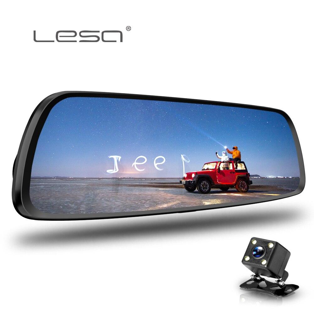 LESA Cámara Dvr Auto 7,0 pulgadas Full HD 1080 p espejo retrovisor grabadora de vídeo Digital doble lente Registratory Camcorder dash cam