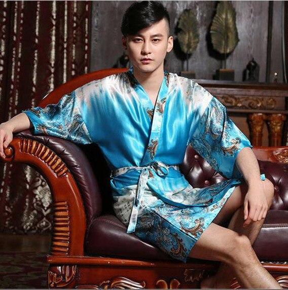 Plus Größe Männer Kimono Silk Satin Luxus Robe/männer Schließen ...