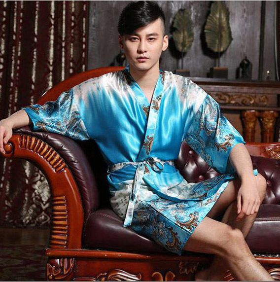 Plus Size Men Kimono Silk Satin Luxury Robe  Men s Short Bathrobe  Mens  Sexy Sleepwear  Male Manview Robe  Dressing Gown for Men c18b098b5