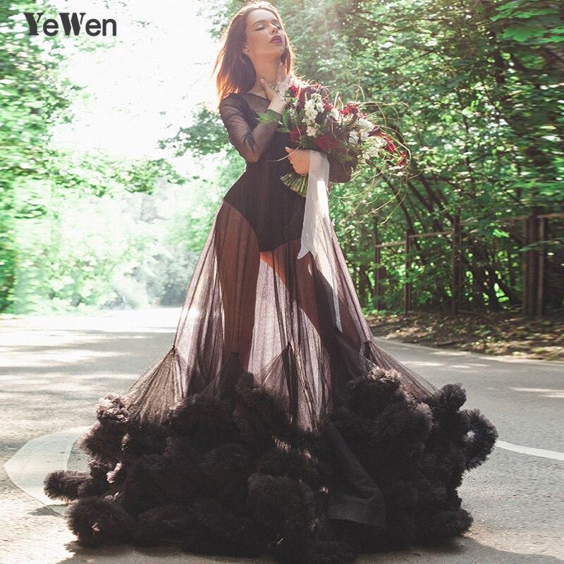 Sexy Deep Pink Black See Though Blue Cloud Long Sleeves Wedding Dress Robe De Mariee Wedding Gowns 2019 Vestidos De Noche 8005